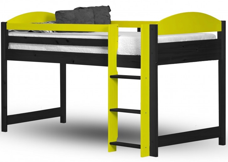 lit mezzanine mi haut bois graphite et jaune aladin. Black Bedroom Furniture Sets. Home Design Ideas