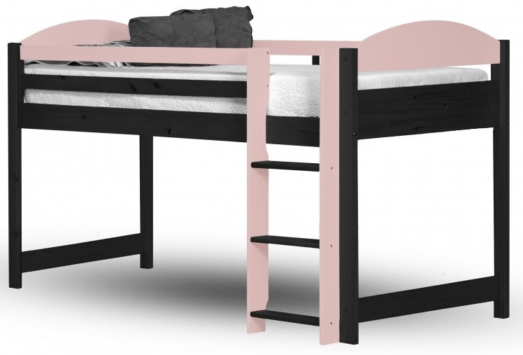 lit mezzanine mi haut bois graphite et rose aladin. Black Bedroom Furniture Sets. Home Design Ideas