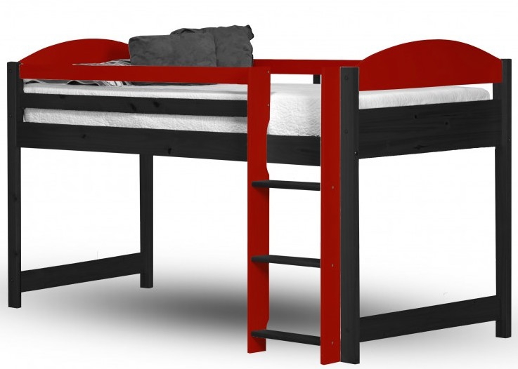 lit mezzanine mi haut bois graphite et rouge aladin. Black Bedroom Furniture Sets. Home Design Ideas
