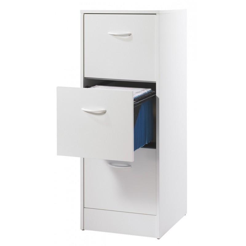 classeur 3 tiroirs pour dossiers suspendus blanc matha. Black Bedroom Furniture Sets. Home Design Ideas