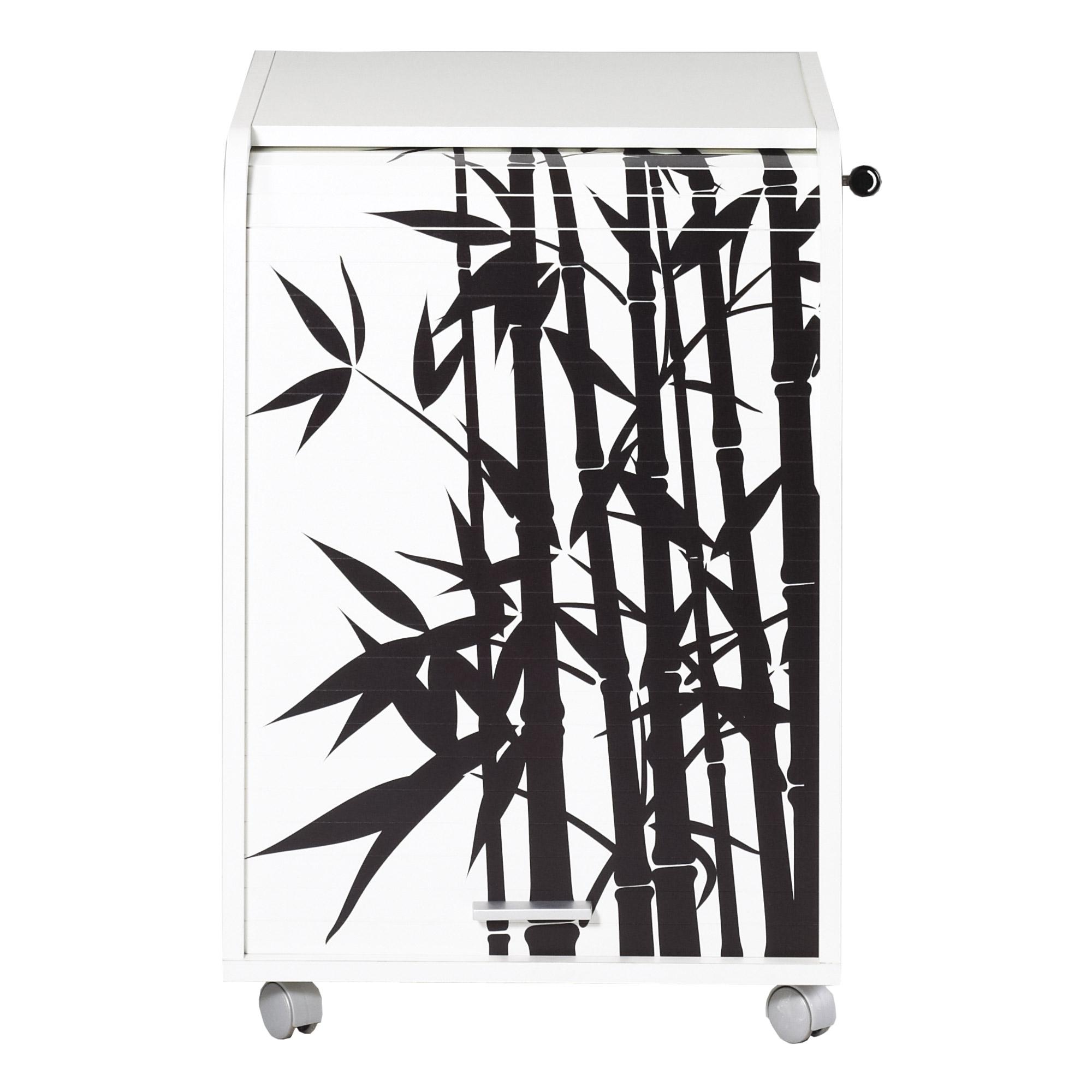 caisson de bureau blanc impression bambou orga 70. Black Bedroom Furniture Sets. Home Design Ideas