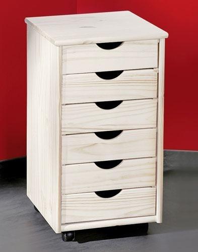 Caisson de bureau en pin massif blanc simon for Bureau pin massif blanc