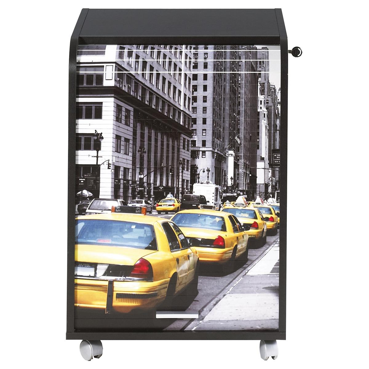 caisson de bureau noir orga 70 cm new york taxi jaune. Black Bedroom Furniture Sets. Home Design Ideas