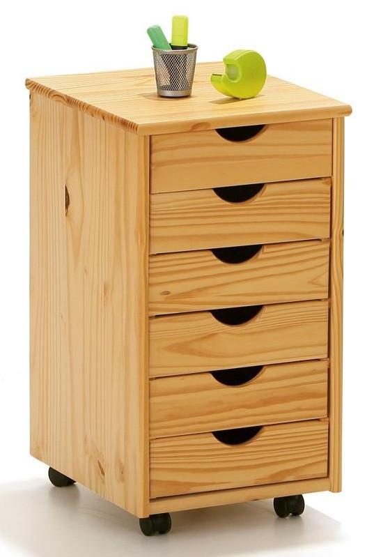 Caisson sur roulettes 6 tiroirs pin massif clair verni - Caisson cuisine bois massif ...