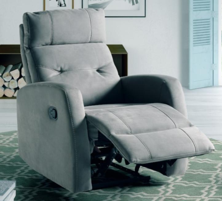 fauteuil de relaxation manuel microfibre gris kali. Black Bedroom Furniture Sets. Home Design Ideas