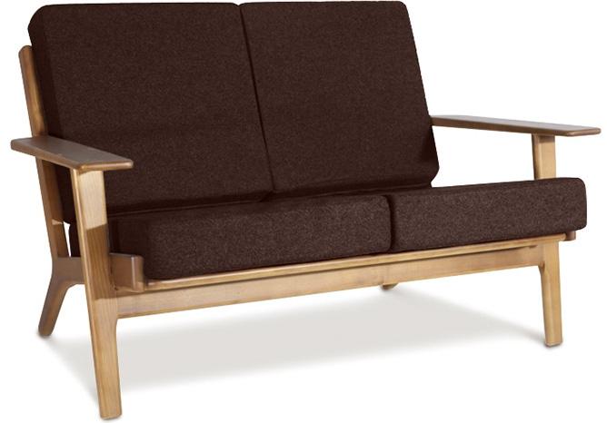 canap 2 places bois naturel et cuir chocolat buton. Black Bedroom Furniture Sets. Home Design Ideas