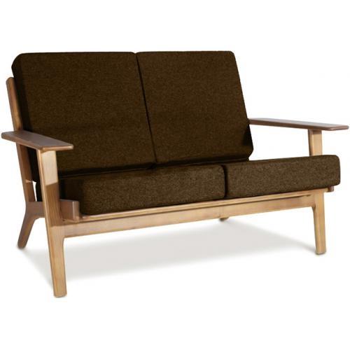 canap 2 places bois et tissu marron buton. Black Bedroom Furniture Sets. Home Design Ideas
