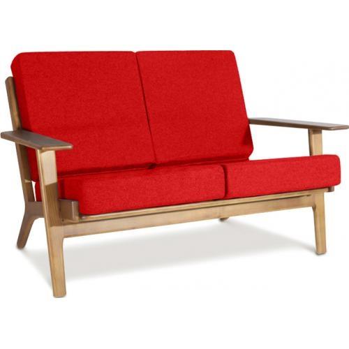 Canap 2 places bois et tissu rouge buton - Canape bois et tissu ...