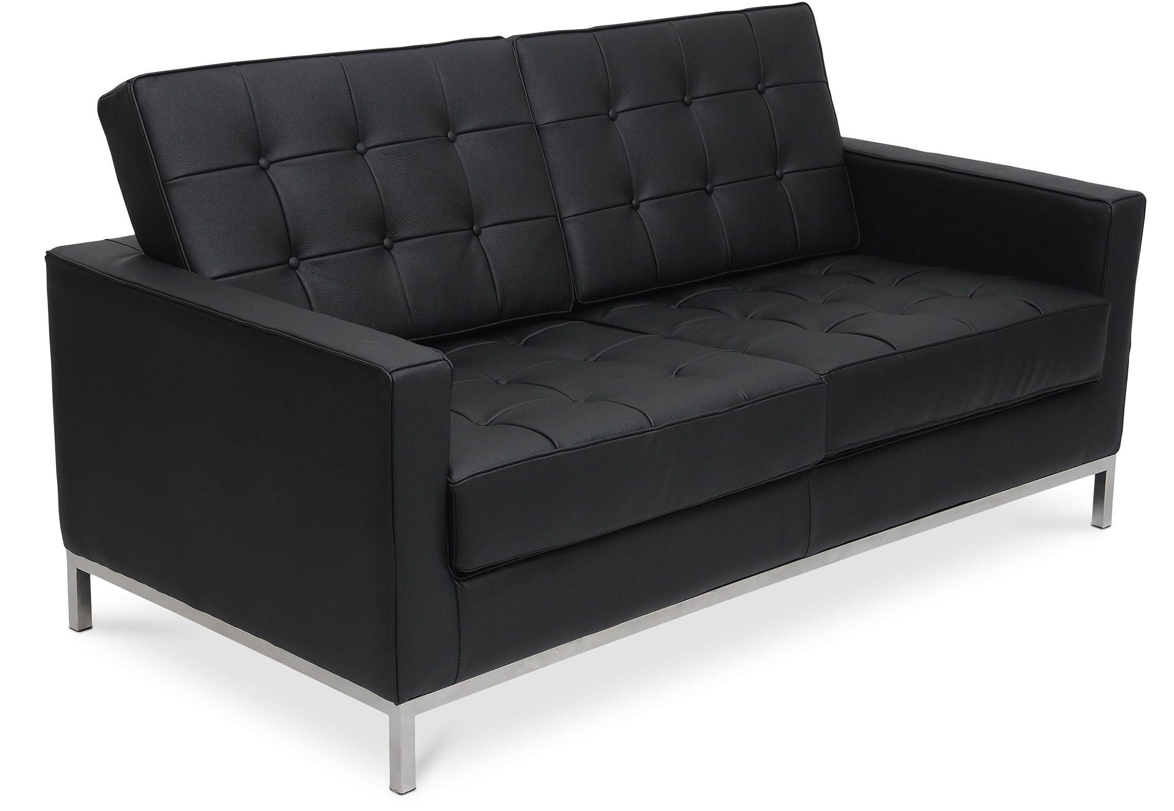 canap 2 places capitonn cuir noir inspir florence knoll. Black Bedroom Furniture Sets. Home Design Ideas
