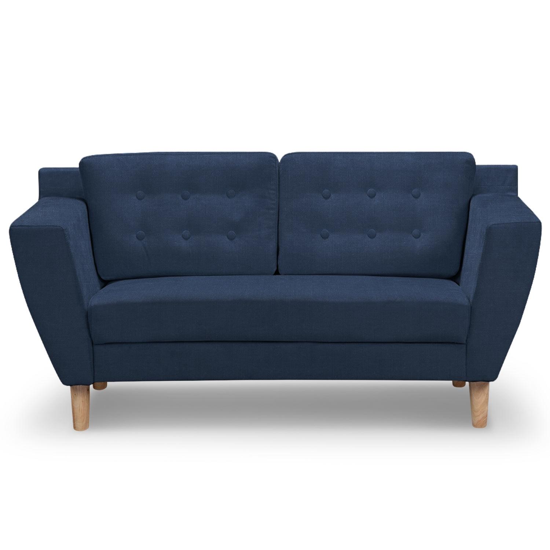 canap 2 places capitonn tissu bleu mondo. Black Bedroom Furniture Sets. Home Design Ideas