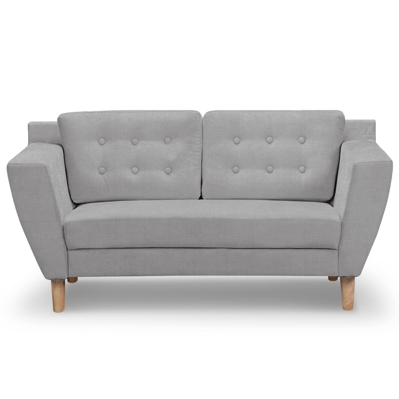 canap 2 places capitonn tissu gris mondo. Black Bedroom Furniture Sets. Home Design Ideas