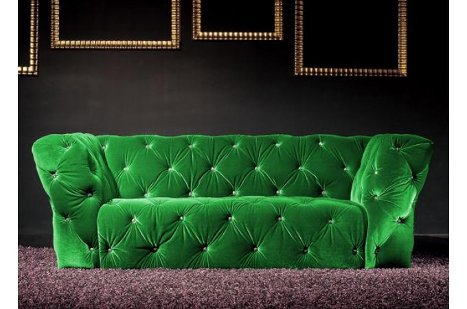 Canap 2 places velours vert royal chesterfield for Canape velours vert
