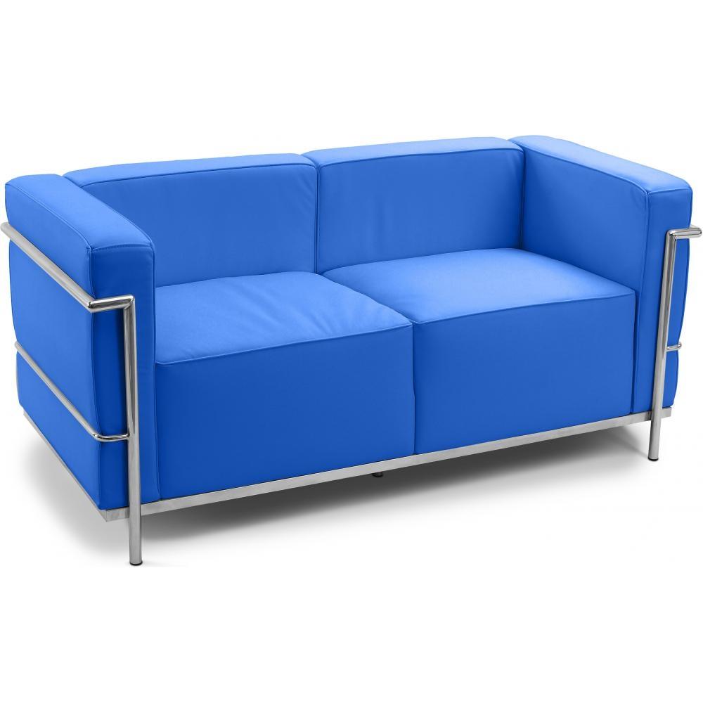 canap 2 places moderne simili bleu clair kara. Black Bedroom Furniture Sets. Home Design Ideas