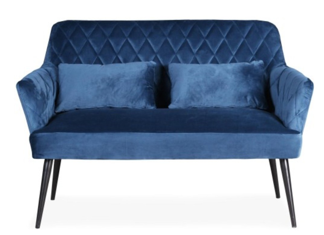 Canap 2 places matelass velours bleu moody for Canape 10 place
