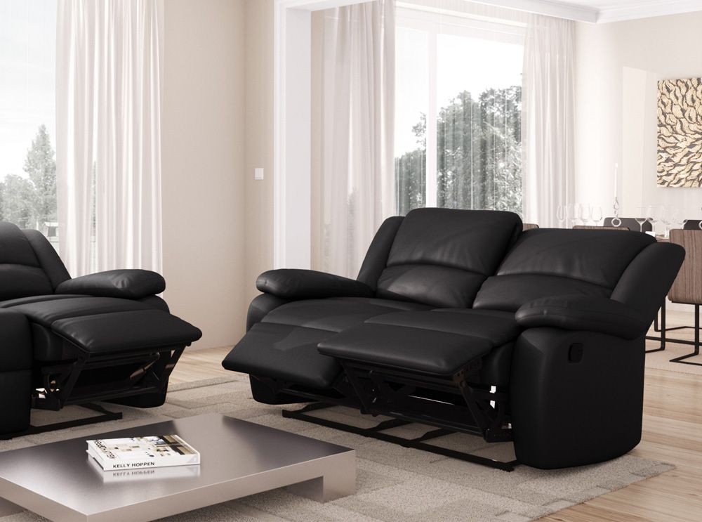 canap 2 places relax simili cuir noir relaxo. Black Bedroom Furniture Sets. Home Design Ideas