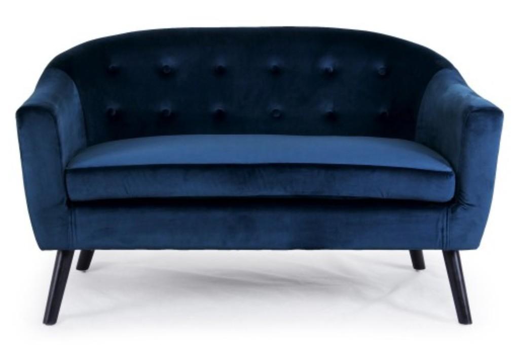 canap 2 places velours bleu soxford. Black Bedroom Furniture Sets. Home Design Ideas