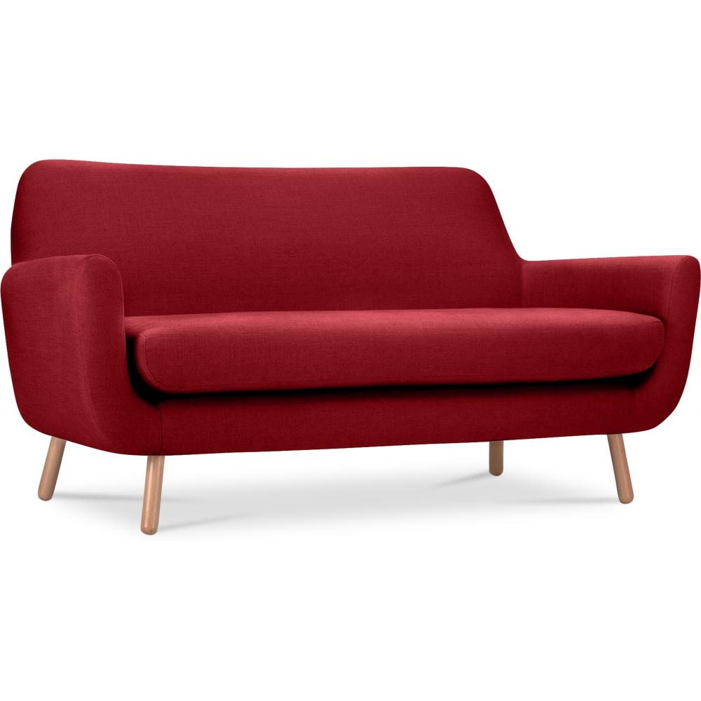 Canap 2 places style scandinave tissu rouge domus for Canape 2 places rouge