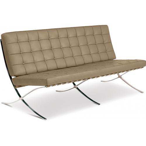 Canapé 3 places capitonné cuir taupe inspiré Mies Van Der