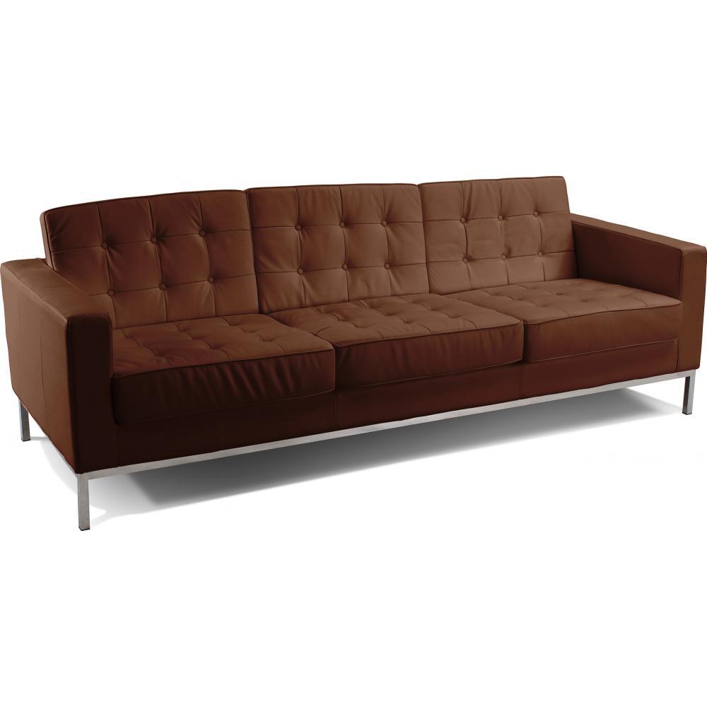 canap 3 places capitonn simili chocolat inspir florence knoll. Black Bedroom Furniture Sets. Home Design Ideas