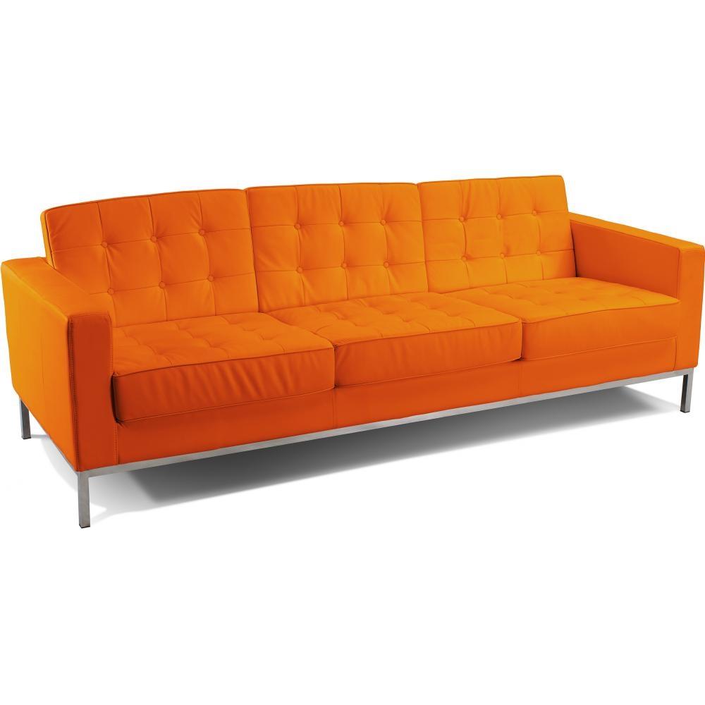 canap 3 places capitonn simili orange inspir florence knoll. Black Bedroom Furniture Sets. Home Design Ideas