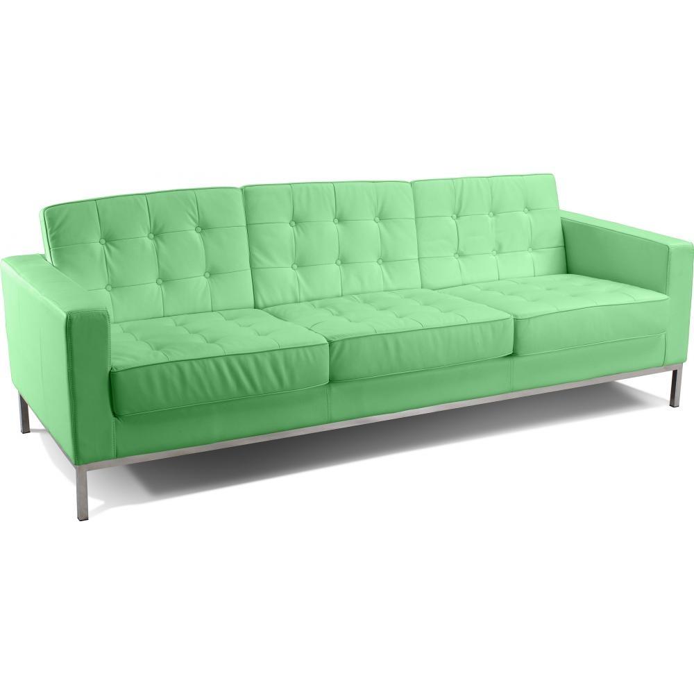 Canap 3 places capitonn simili vert clair inspir florence knoll - Canape cuir vert ...