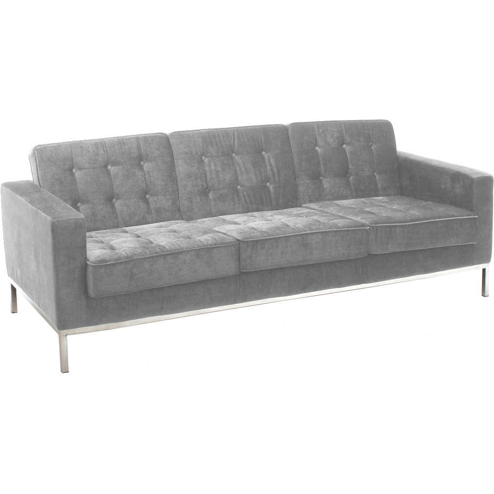 canap 3 places capitonn velours gris clair inspir. Black Bedroom Furniture Sets. Home Design Ideas