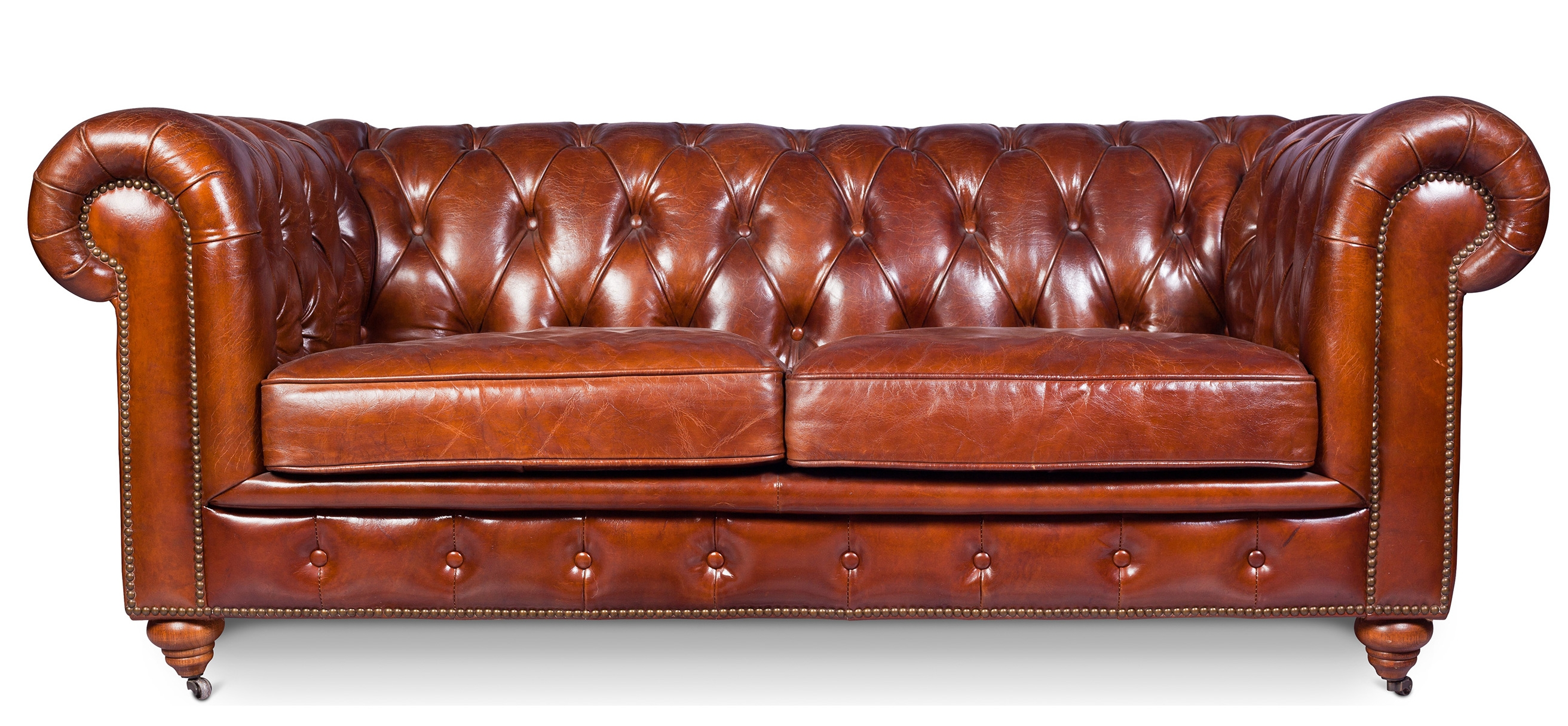 Canap 3 Places Cuir Brun Vintage Chesterfield
