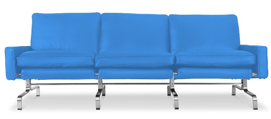 canap 3 places haut de gamme simili bleu clair barca. Black Bedroom Furniture Sets. Home Design Ideas