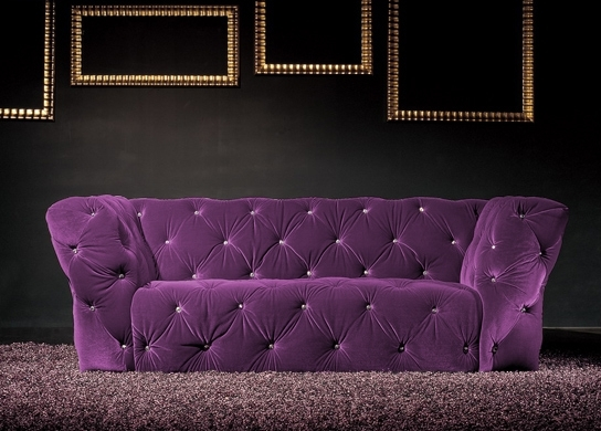 Canap 3 places velours violet royal chesterfield for Canape chesterfield en velours