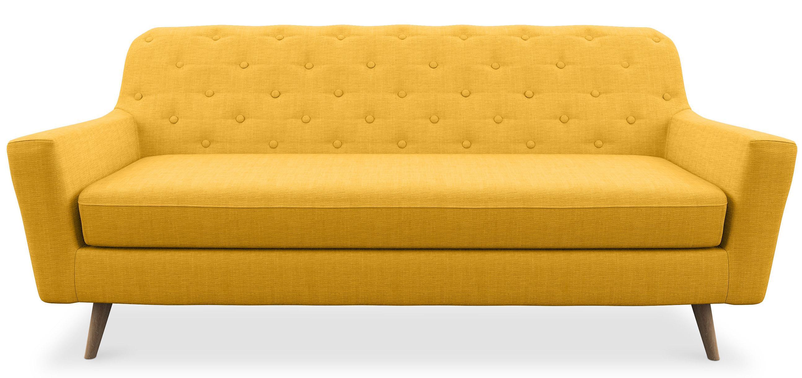 canap 3 places nordique tissu jaune norda. Black Bedroom Furniture Sets. Home Design Ideas