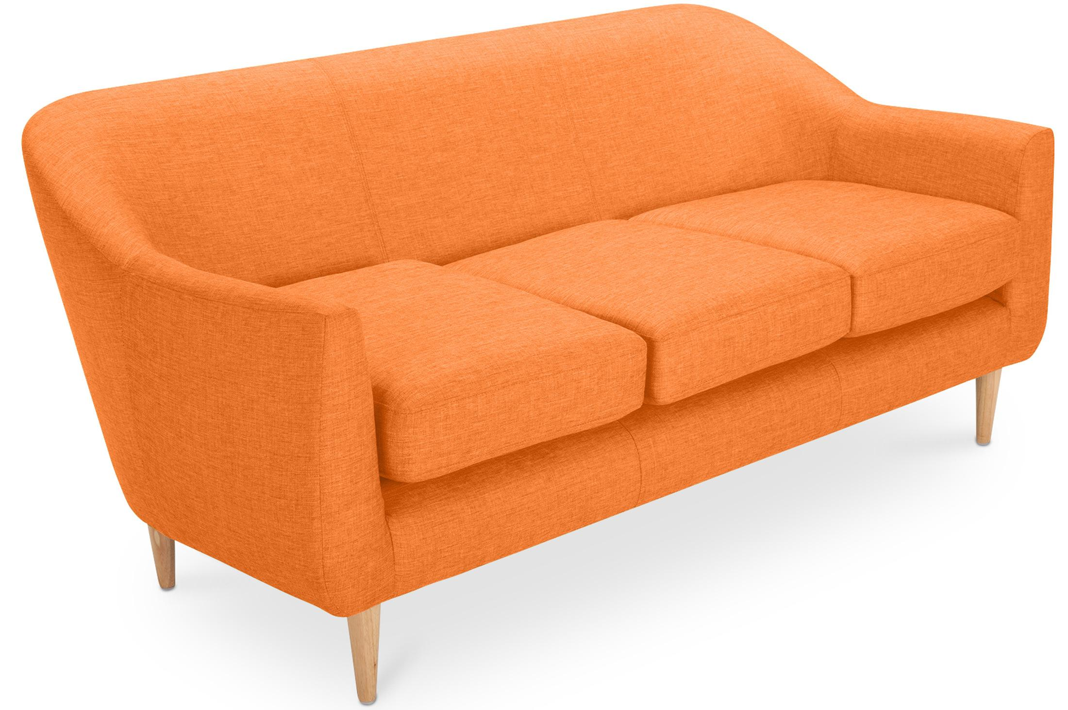 Canap 3 places scandinave tissu orange ronda for Canape 3 place tissu