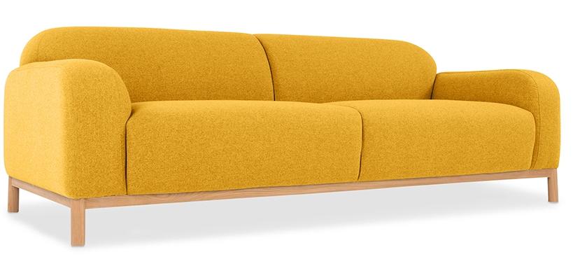 canap 3 places tissu lin jaune ronda. Black Bedroom Furniture Sets. Home Design Ideas
