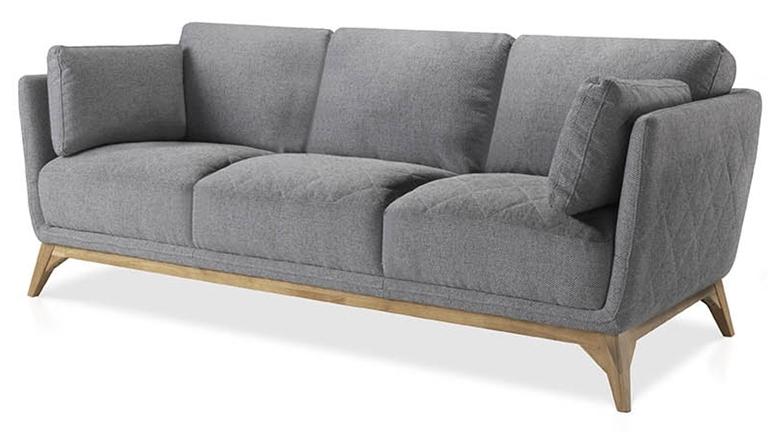 canap haut de gamme 3 places assise tissu gris et pieds bois plaqu noyer luxy. Black Bedroom Furniture Sets. Home Design Ideas