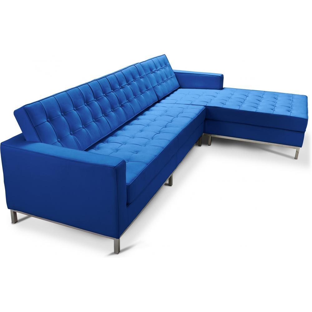 canap angle droit capitonn simili bleu fonc inspir florence knoll. Black Bedroom Furniture Sets. Home Design Ideas