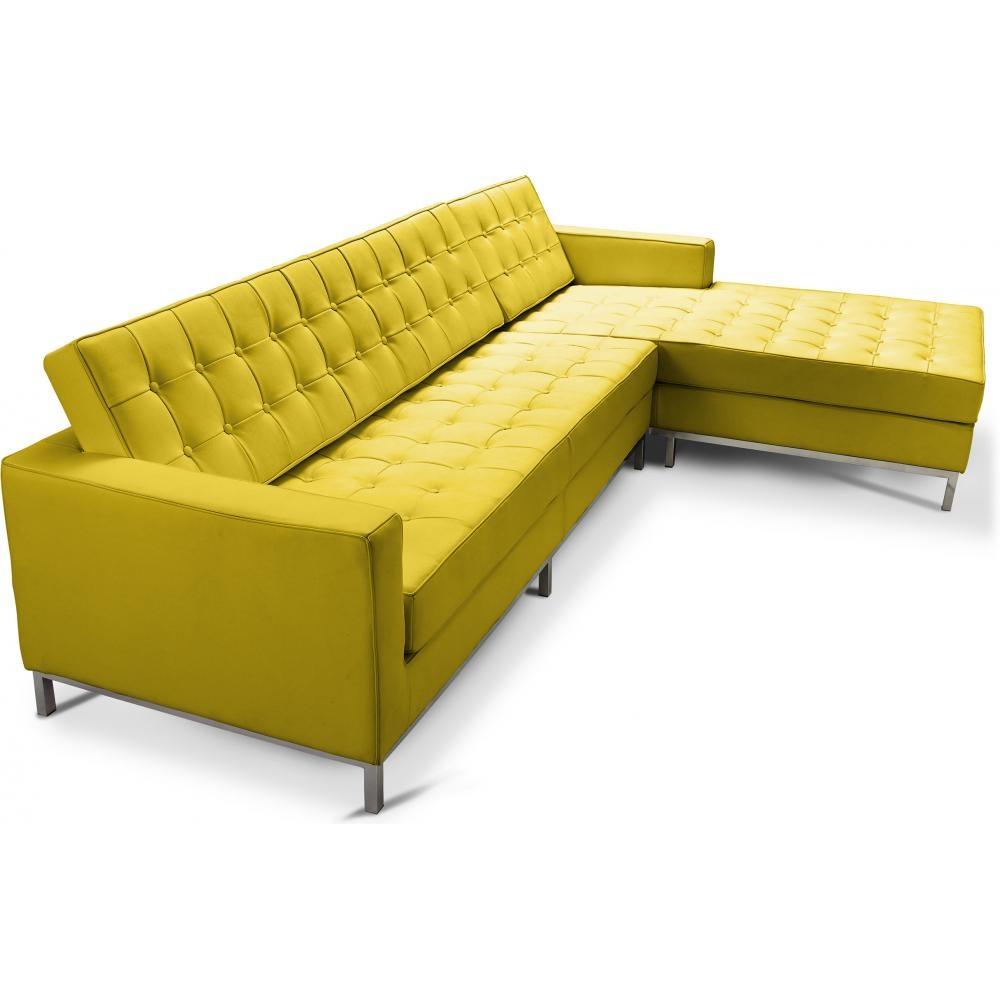canap angle droit capitonn simili jaune inspir florence knoll. Black Bedroom Furniture Sets. Home Design Ideas