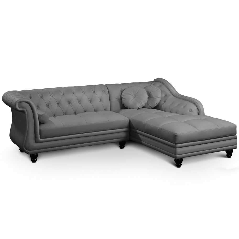 Canap angle droit simili gris chesterfield - Canape chesterfield gris ...