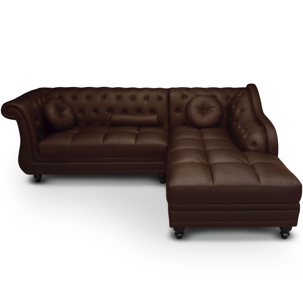 canap angle droit simili marron chesterfield. Black Bedroom Furniture Sets. Home Design Ideas