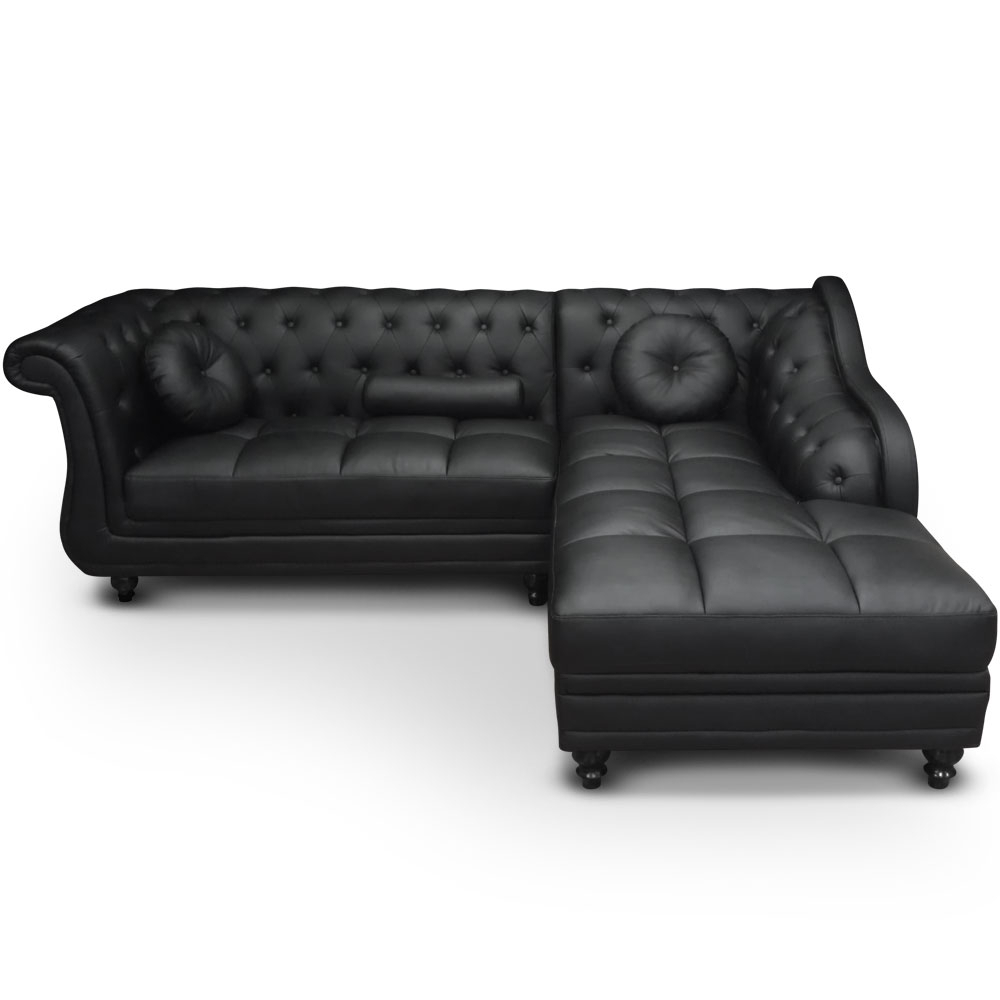 canap angle droit simili noir chesterfield. Black Bedroom Furniture Sets. Home Design Ideas