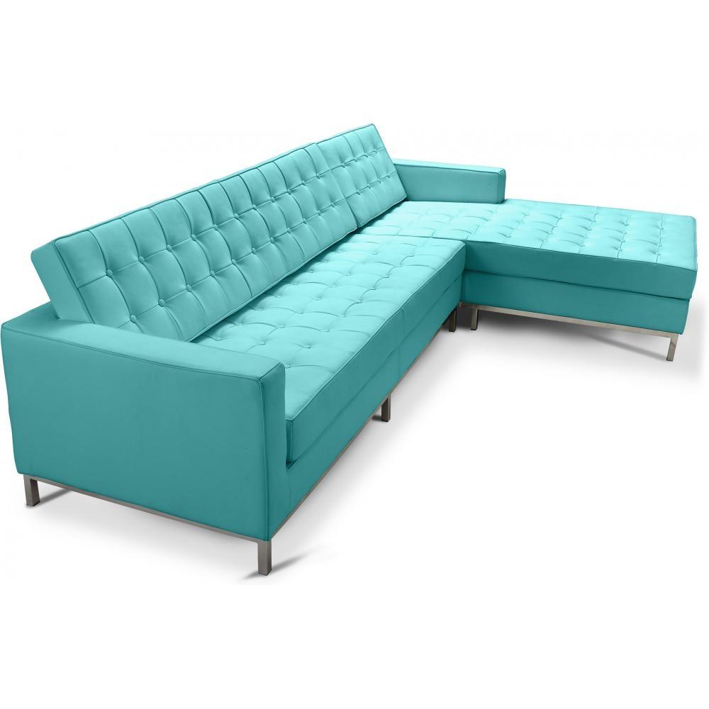 Canap Angle Droit Simili Turquoise Lonza
