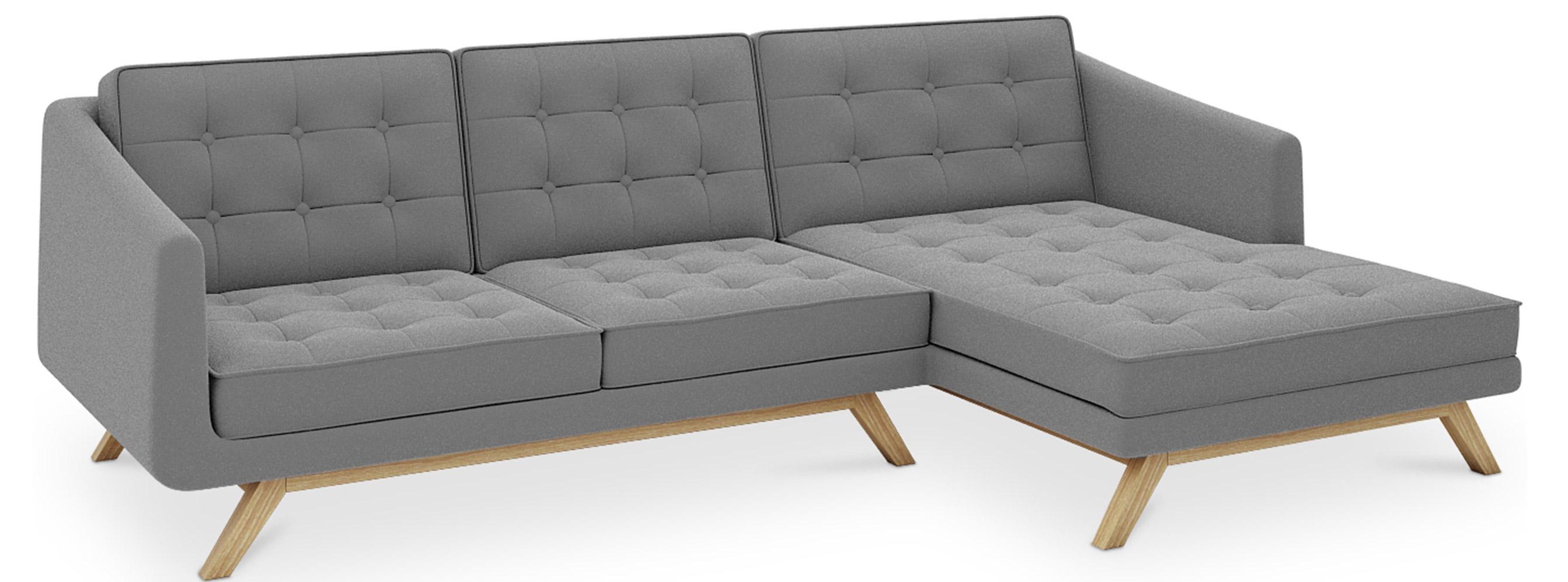 canap angle droit tissu gris moderne. Black Bedroom Furniture Sets. Home Design Ideas