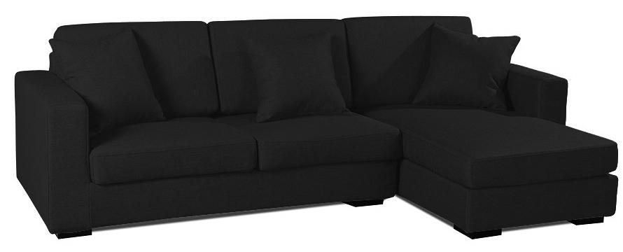 Canapé angle droit tissu lin noir Boty inspiré Boretti