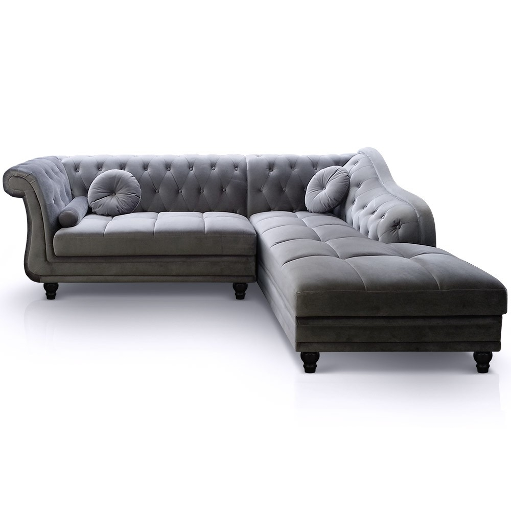 Canap angle droit velours gris chesterfield - Canape angle but gris ...