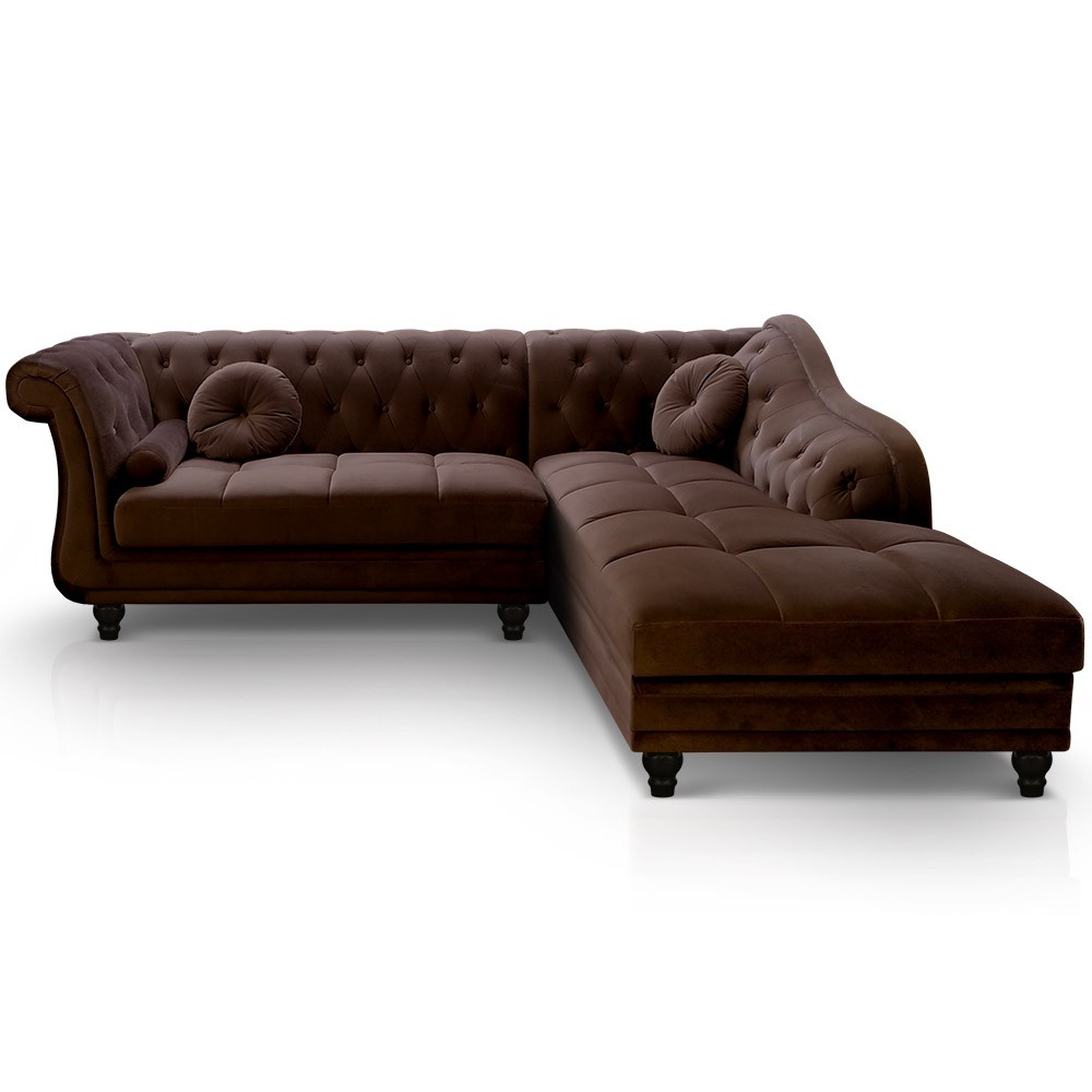 canap angle droit velours marron chesterfield. Black Bedroom Furniture Sets. Home Design Ideas
