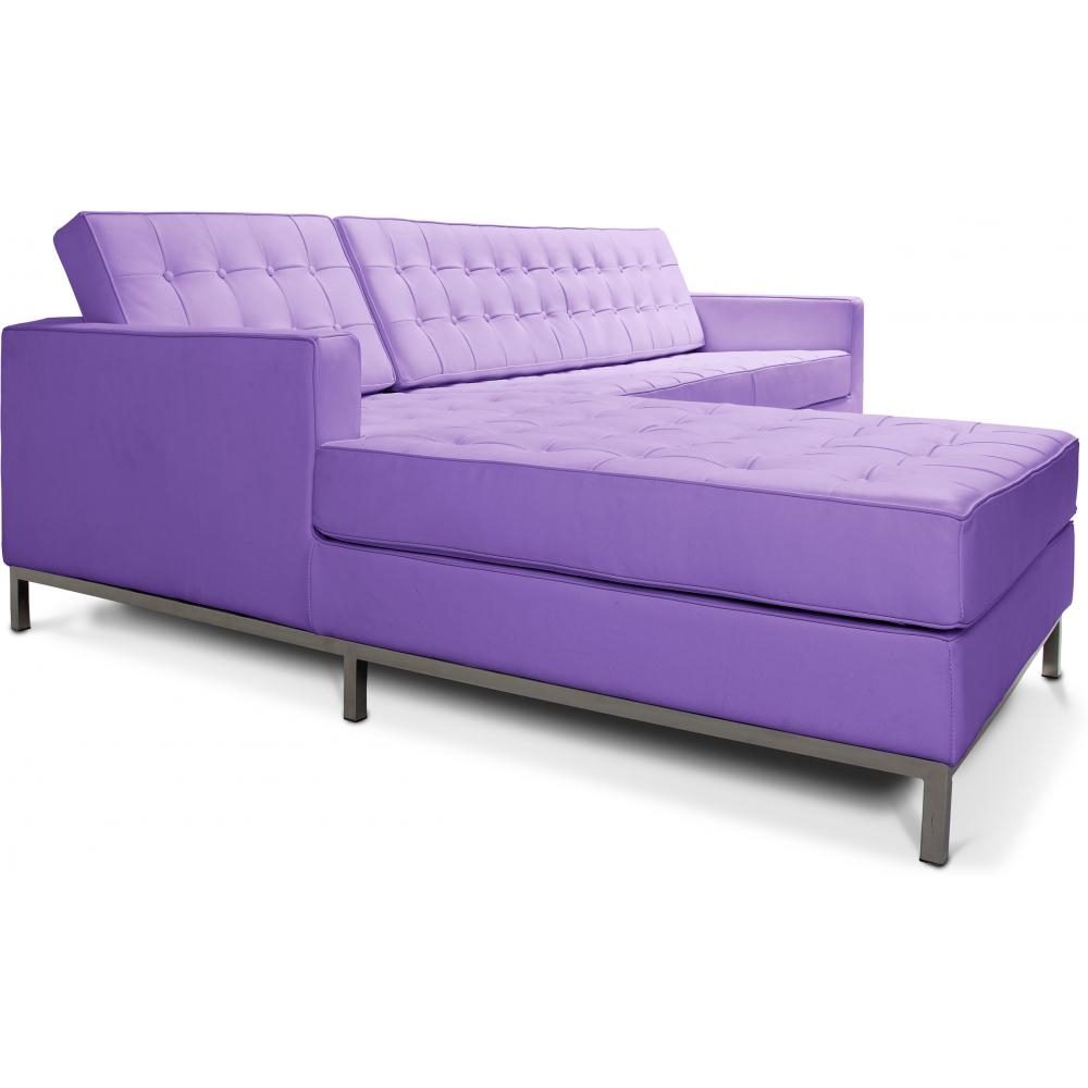 canap angle gauche capitonn simili mauve inspir florence knoll. Black Bedroom Furniture Sets. Home Design Ideas