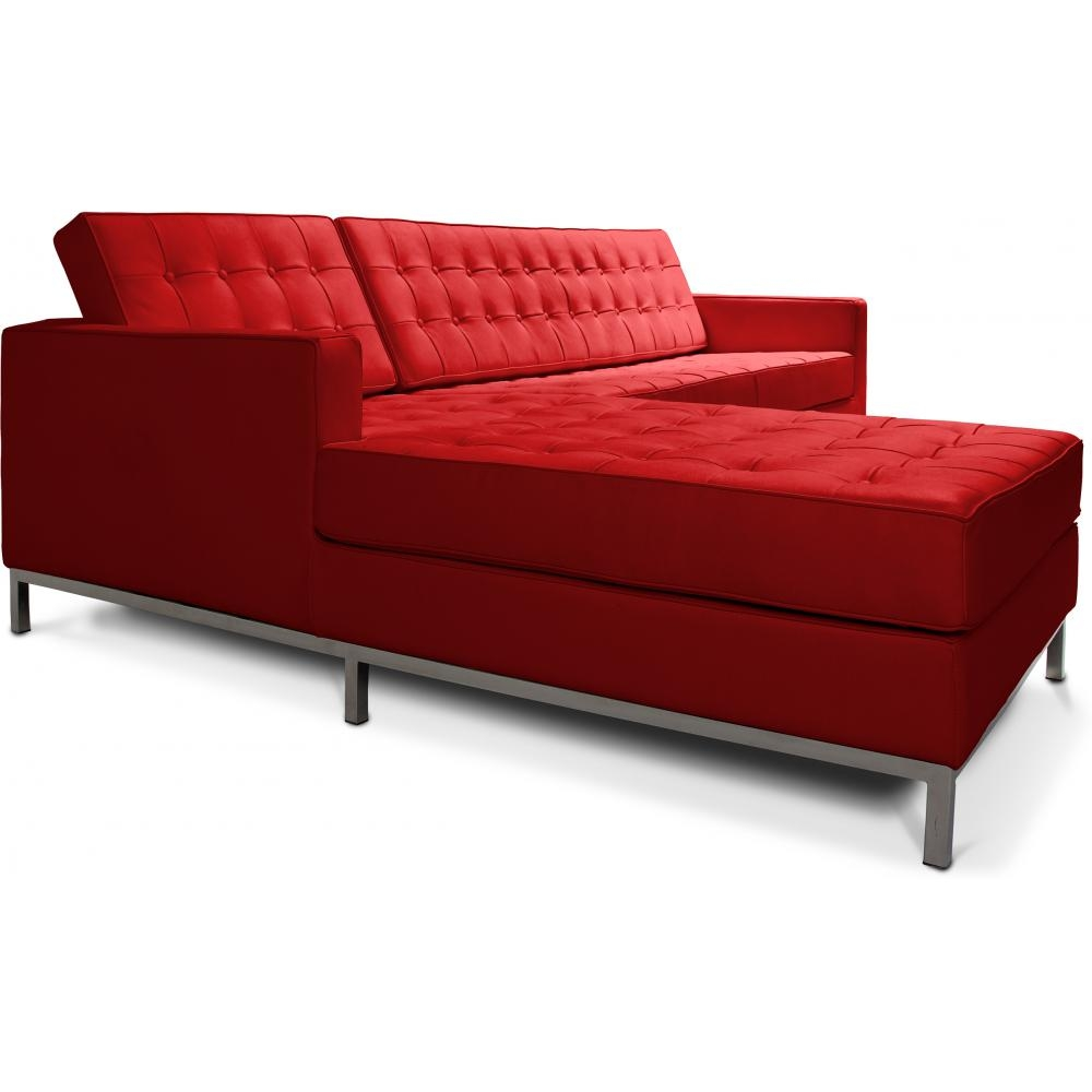 canap angle gauche capitonn simili rouge inspir florence knoll. Black Bedroom Furniture Sets. Home Design Ideas