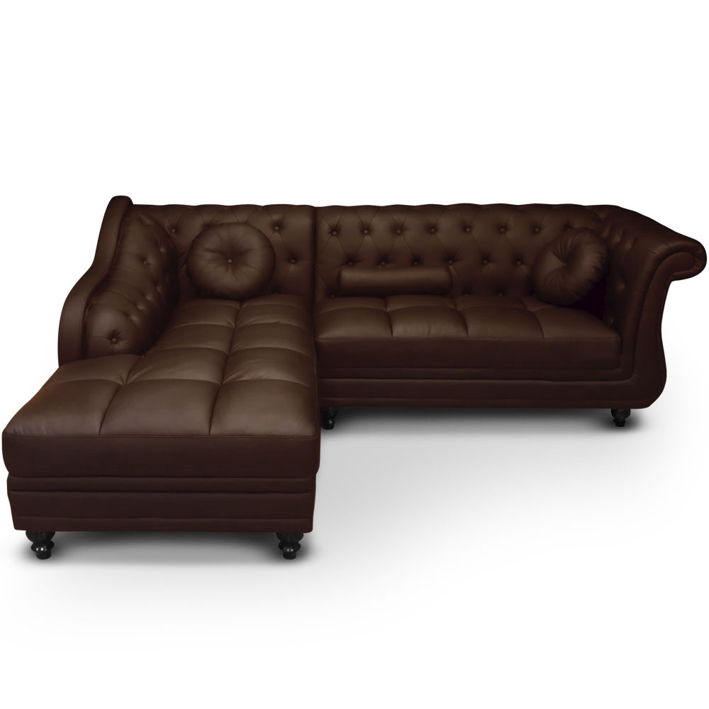 canap angle gauche simili marron chesterfield. Black Bedroom Furniture Sets. Home Design Ideas