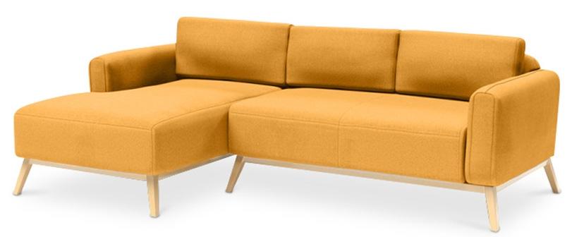 canap angle gauche tissu lin jaune scandinave. Black Bedroom Furniture Sets. Home Design Ideas