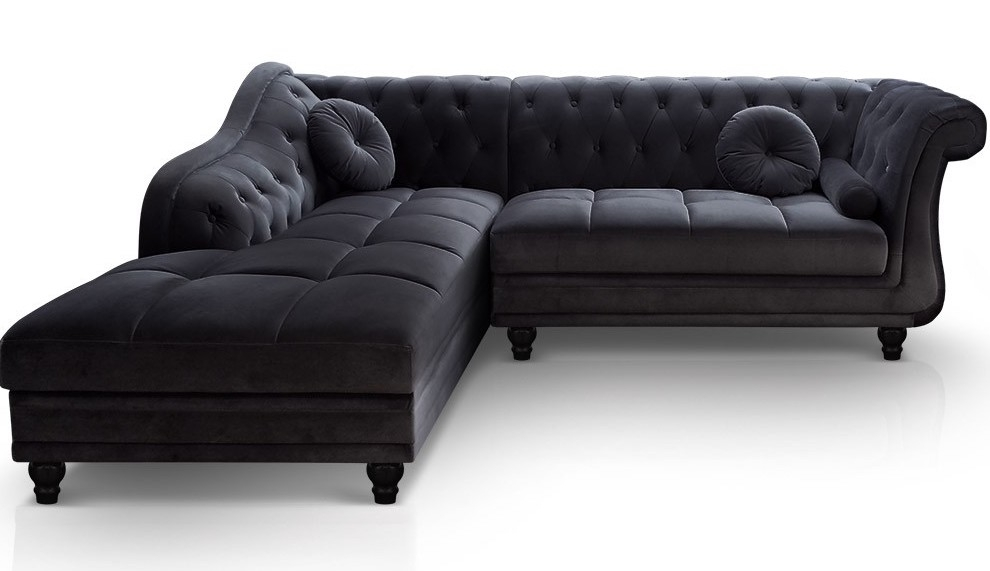 canap angle gauche velours noir chesterfield. Black Bedroom Furniture Sets. Home Design Ideas
