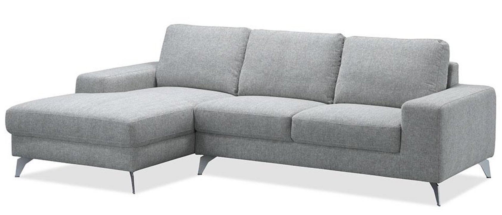 canap angle gauche tissu gris clair sinka. Black Bedroom Furniture Sets. Home Design Ideas