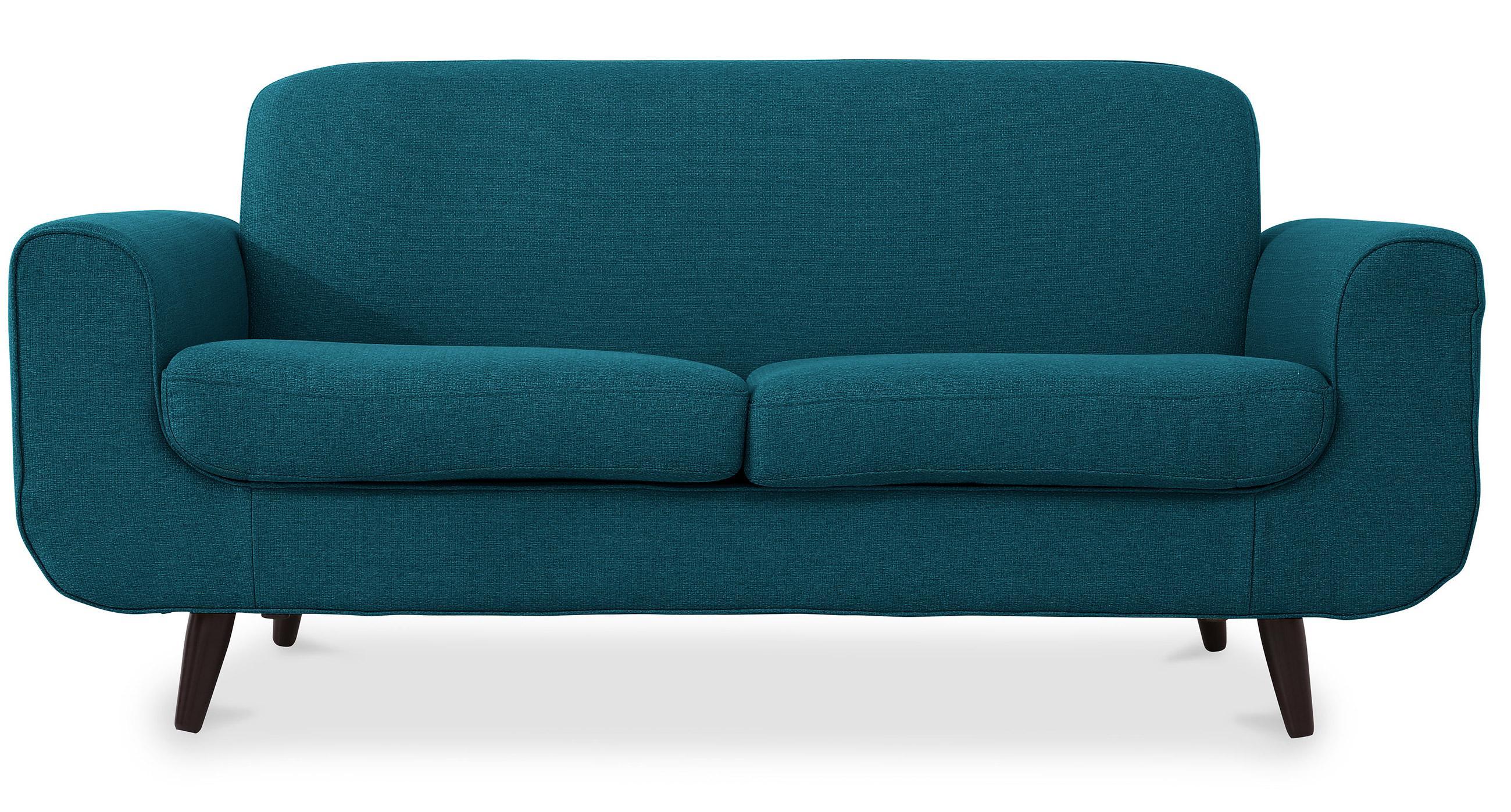 canap 2 places scandinave tissu bleu diane. Black Bedroom Furniture Sets. Home Design Ideas